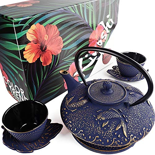 KIYOSHI Luxury 7PC Japanese Tea Set.'Midnight Blue Koi' Cast Iron Tea Pot with 2 Tea Cups, 2 Saucers, Loose Leaf Tea Infuser and Teapot Trivet. Ceremonial Matcha Accessories