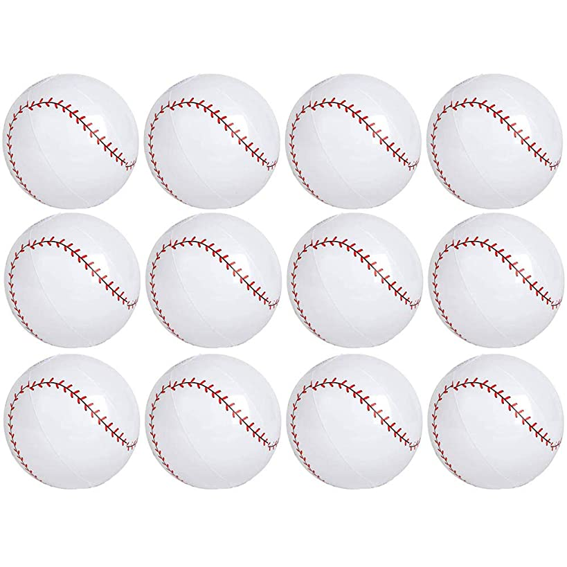 Kicko 9 Inch Inflatable Baseball Toy - 12 Pieces of Squishy and Bouncy Ball - Party Bag Fillers, Gifts,, Decorations, Perfect All-Season Outdoor, and Indoor Games - Beach or Park