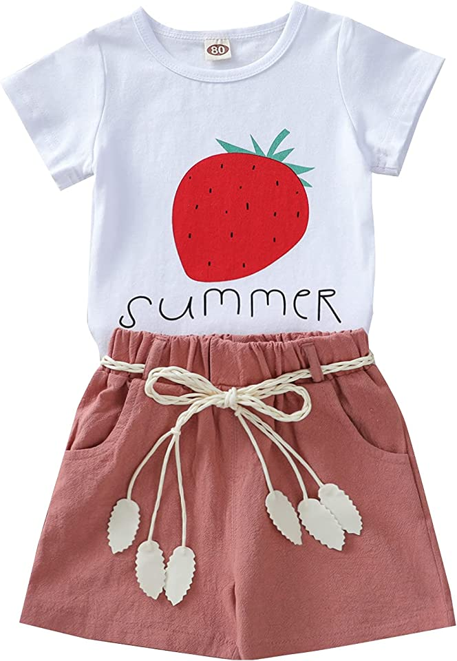 Baby Toddler Girls Summer Shorts Sets Kids Watermelon Letter Print Tops Shorts Outfits Clothes for 1-4 Years Old