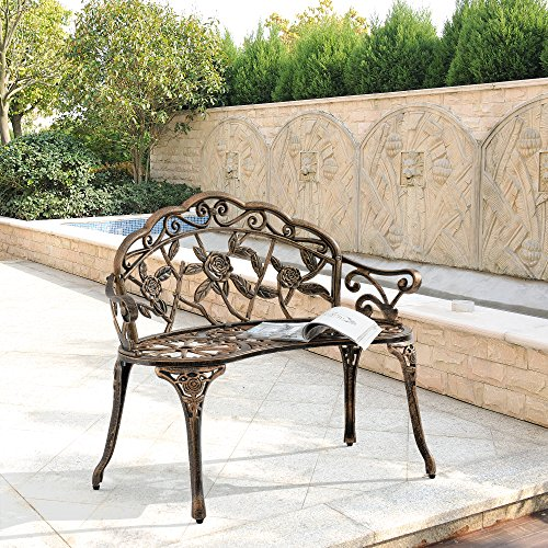 [casa.pro] Gartenbank Bronze Gusseisen – Wetterfester 2-Sitzer rund aus Metall im Antik-Design – Parkbank / Sitzbank / Eisenbank im Landhausstil - 7