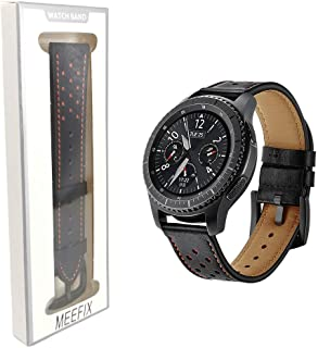 Leather Watch Band Bracelet Strap Wristband For Samsung Galaxy Smart Watch Gear S3 Frontier Classic 22mm (Black)