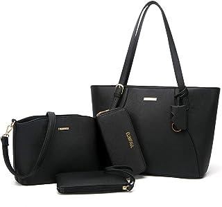 YTL Damen Handtasche Tote Shopper Groß Schultertasche Umhängetasche Geldbörse Kartenhalter Tasche 4-teiliges Set für Büro ...