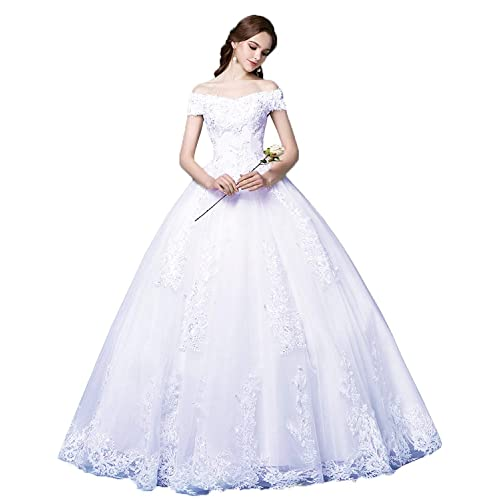 8d9e9e9ec4a Okaybrial Women s Beach Wedding Dress Off Shoulder Appliques Beading Ball Gown  Bride Dress
