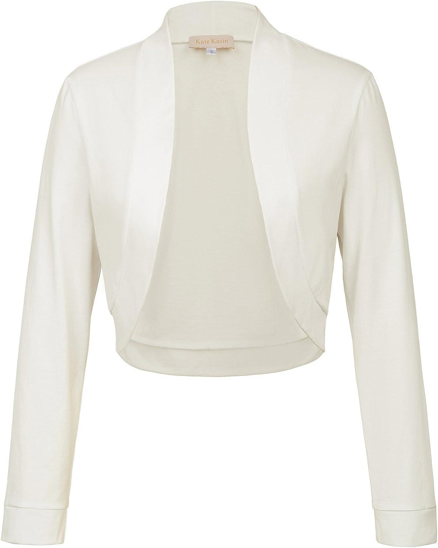 Kate Kasin Women Vintage Open Front Cropped Bolero Shrug Cardigan Cape with Long Sleeve S-XXL