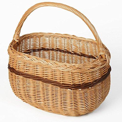 Weidenprofi Weidenkorb, Einkaufskorb aus Weide 2-farbig, oval mit Tragebügel, ca. 44 x 28 cm, 24/43 cm hoch 44 x 28 x 24/43 cm