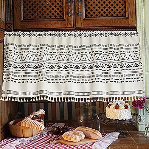 Bistro Vorhang geometrischer Muster-Panel-Gardine Kurz Vorhang Opaque Schwarz Vorhänge für Küche Kaffeemaschine Badezimmer-Schrank W 143 x H 90 cm Baumwolle und Leinen mit Quaste,68× 45cm ( Bx H)