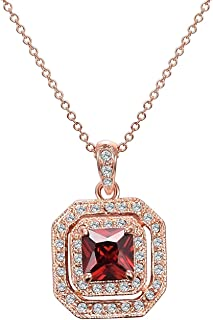 Aleasha Crystal Necklace for Women Vintage Square Birthstone Pendant Necklaces Rose Gold Tone Jewelry Gifts for Women Birt...