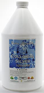 1 Gallon Certified Lab Tested Colloidal Silver 120ppm in Non-leeching Plastic Jug + Free Filled Dropper Bottle By Pure Hea...