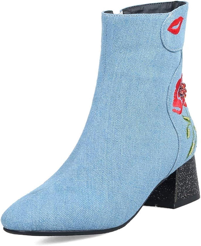 Beautiful - Fashion Women's Fashion Denim Ankle Boots Square Toe Studded Flower Mid Heel Zipper Jeans Dress Short Booties