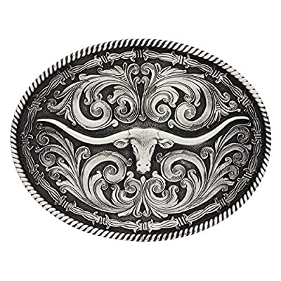 Montana Silversmiths Men's Barbed Wire Longhorn Classic Impressions Attitude Silver One Size