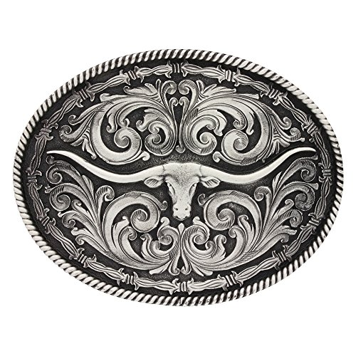 Montana Silversmiths Longhorn Collection Western Attitude Belt Buckle (Rope and Barbed Wire Longhorn)