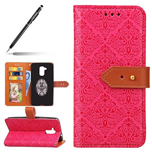 Uposao Kompatibel mit Handyhülle Huawei Honor 5C Lederhülle Retro Männer Leder Tasche Schutzhülle Superdünn Handytasche Klapphülle Hülle Flip Hülle Cover Tasche Kartenfach Magnetverschluss,Hot Pink