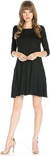 Women's 3/4 Sleeve Solid Side Pocket A-Line Tunic Dress