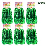 hatisan 12 Pack Cheerleading Pom Poms, Cheerleader Pompoms Metallic Foil Pom Poms for Sports Team Spirit Cheering Party Dance Useful Accessories (Green)