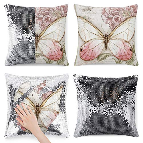 pealrich Funda de cojín cuadrada con diseño de mariposas, color rosa, decoración del hogar, para sofá, cama, silla, 40,6 x 40,6 cm