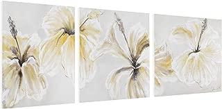Kunstloft® Cuadro en acrílico 'Florido trío' 180x60cm | Original Pintura XXL Pintado a Mano sobre Lienzo | Flores Blanco Amarillo | Cuadro acrílico de Arte Moderno con Marco
