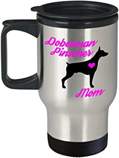 Doberman Pinscher Mom Travel Mug - Insulated Portable Coffee Cup With Handle And Lid For Dog Lovers - Perfect Christmas Gift Idea For Women - Novelty Animal Lover Quote Statement Accessories