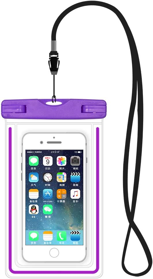 Water Sports Cell Phone Dry Bag Travel Waterproof Pouch Case for Samsung S9 Plus / S8 Plus / Note9 / Note8 / S7 Active / S6 Edge+ / S8 Active/LG V50 / V40 / V35 / V20 ThinQ / G6 Plus / G7 (Purple)