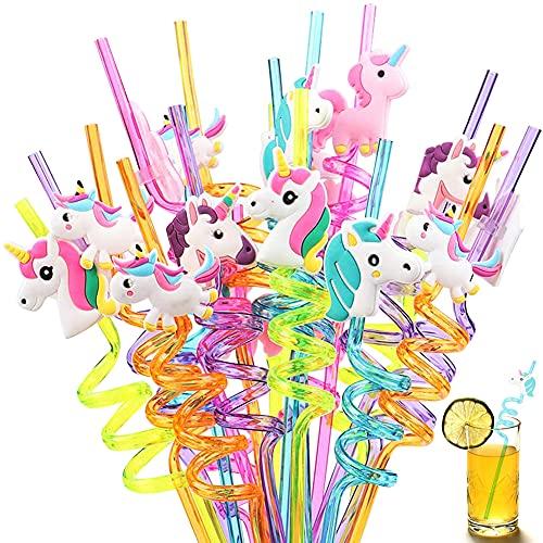 Cannucce a Forma, Hilloly 20 Pezzi Cannucce Ricurve, Cannucce Riutilizzabili in Plastica, Cannucce a Forma di Unicorno, per Feste di Compleanno per Bambini, Decorazioni da Tavola per Feste di Famiglia