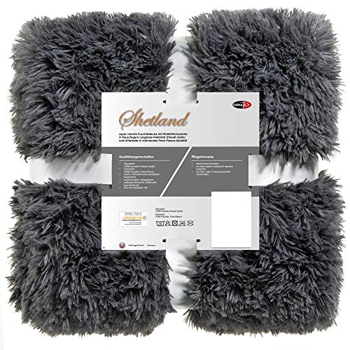 CelinaTex Shetland Kuscheldecke XXL 220 x 240 cm grau Polar Fleece Tagesdecke Langhaar Wendedecke Flokati Optik