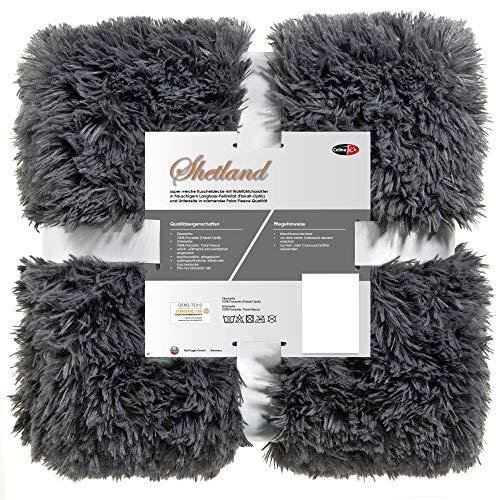 CelinaTex Shetland Kuscheldecke 150 x 200 cm grau Polar Fleece Tagesdecke Langhaar Wendedecke Flokati Optik
