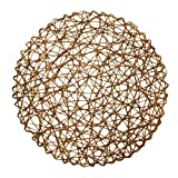LuckyDream Round Paper Woven Placemats, 15-inch, Set of 12, Durable 100% Natural Paper Fiber, Decorative Rope Mesh Place Mats for Dining, Party and Wedding (Brown)