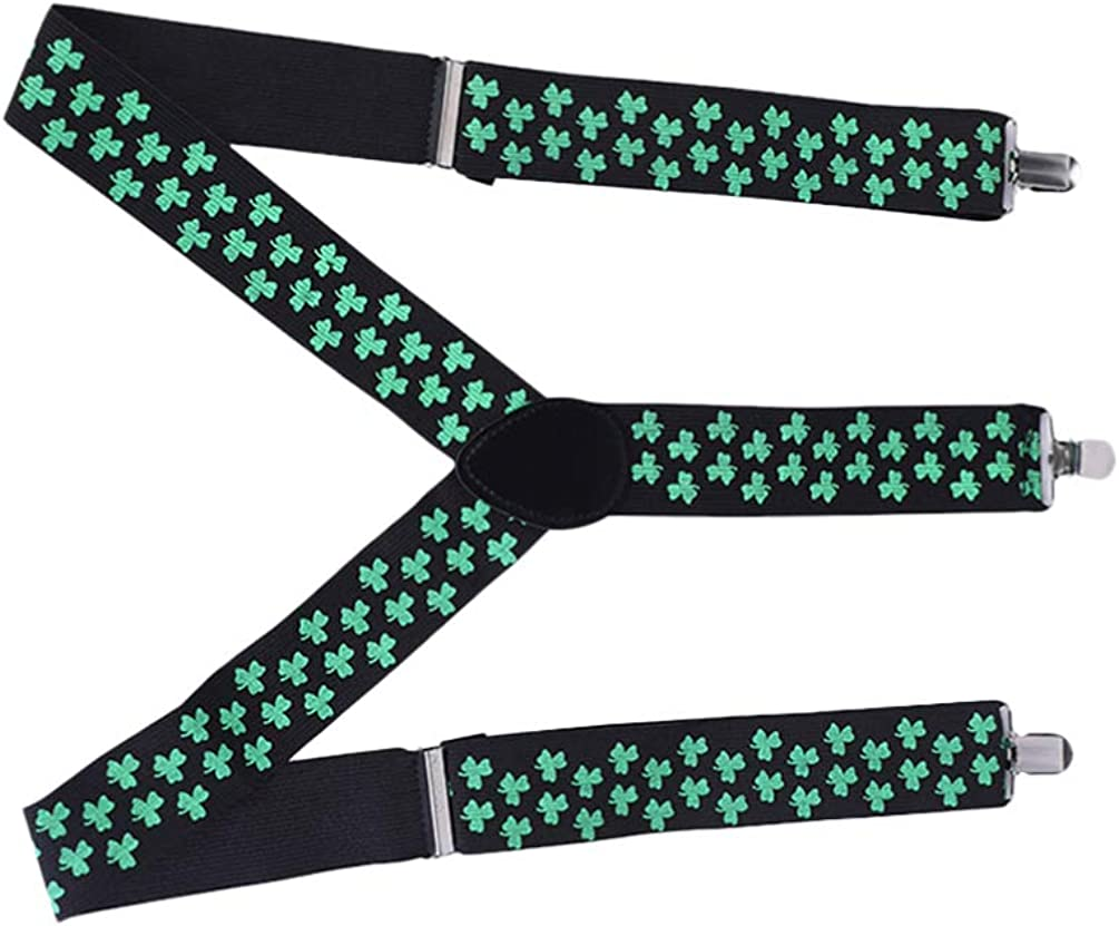 ABOOFAN St Patricks Day Suspenders Mens Suspender Y Shape with Strong Clips Adjustable Braces Three Clip Suspenders Shoulder Straps for St. Pats Day Party Costume Cosplay Supplies