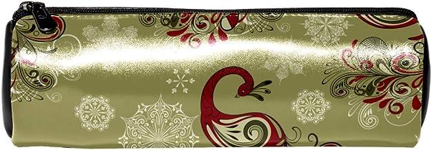 EZIOLY - Estuche de piel con diseño de pavo real y copos de nieve