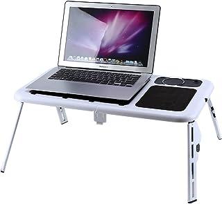 Mesa de cama ajustable plegable de metal para ordenador portátil con bandeja de ventilador de refrigeración soporte con alfombrilla de ratón Lapdesk multifuncional 60 cm x 48 cm x 72 cm