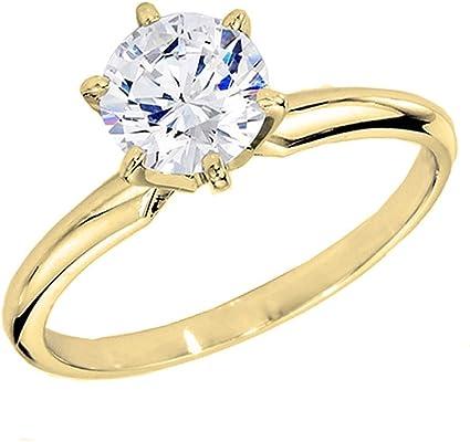 anillo de oro amarillo de 14 quilates con diamante redondo de 1.7 quilates.