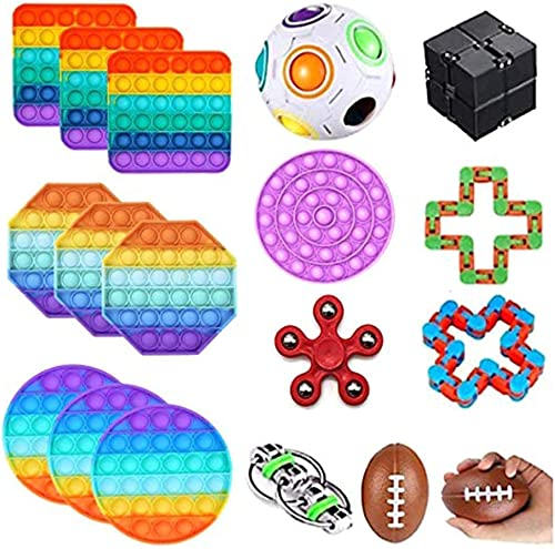 high quality BTSRPU 18 Pcs Fidget popular Toys online Pack, Bubble Squeezing Sensory Toy, Fidget Toy Set Figetgets-Toys Pack Fidget Box, Fidget Pack with Simples-Dimples in It, Gifts for Kids&Adults with Autism outlet sale