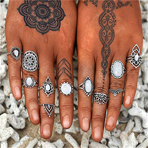 QQWA 11Pcs Chic Rings Set Knot Finger Ring Joint Ring Toe Ring Beach Jewelry Gifts for Women Girls
