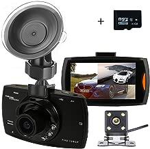 Dual Dash Cam Car Camera Full HD1080P Resolution Rear View Backup Camera 170° Wide Angle 2.7''LCD Night Vision G-Sensor Parking Monitor Recording Motion Detection (16GB Card)