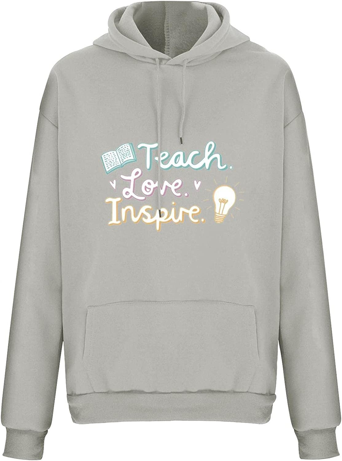 Winter Clothes for Women Teach Love Inspire Printed Sweatshirts Long Sleeve Tops Comfy Loose Hoodie Pullover
