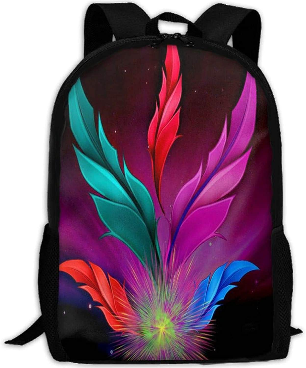 Adult Backpack color Feather College Daypack Oxford Bag Unisex Business Travel Sports Bag with Adjustable Strap