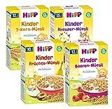 HIPP Kinder Müesli Mix 4 Sorten (Früchte-,Beeren-,7-Korn und -Knusper Müesli) 4 X 200g
