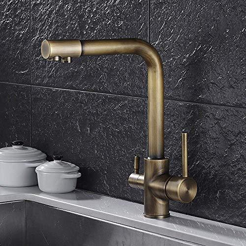 GIOAMH Purificador de agua de cocina de calor frío de alto grado de bronce antiguo, grifo de doble uso, fregadero, grifos de lavabo, mezclador giratorio, grifo de agua