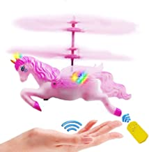Yimei toys Unicorn Toy Gift Girl 6 Years Old, Pink Mini RC and Hand Control Flight Helicopter Unicorn Fairy Tale Doll Birt...