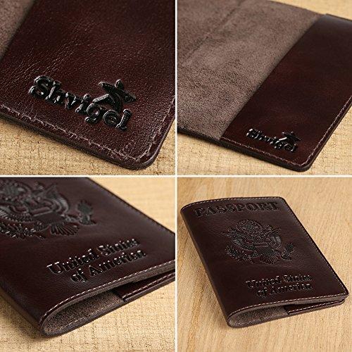 Shvigel Leather Passport Cover – Holder – for Men & Women – Passport Case (Glossy Brown)
