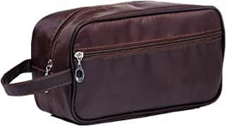 HOYOFO Travel Toiletry Bag Small Makeup Storage Bags for Men and Women, Brown