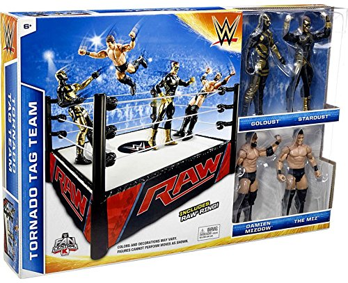 WWE Wrestling Superstar Rings Tornado Tag Team Exclusive Action Figure Playset [with Golddust, Stardust, Damien Mizdow & The Miz]
