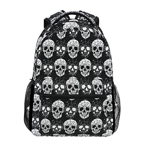 Ahomy School Backpack Black and White Skull Internet Canvas Rucksack Bag for Teen Girls Boys Women and Men