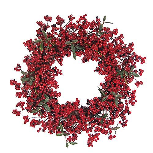 Kenking Weihnachtskranz mit roten Beeren, 55,9 cm Vordertür, künstliche Herbstbeeren, Kranz Dekoration für Zuhause, Winter, Dekoration