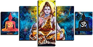 HIOJDWA Paintings 5 Piece Wall Art Modular Poster Hindu Lord Shiva Painting Canvas Hd Printed Abstract Pictures Home Decor Living Room Framed