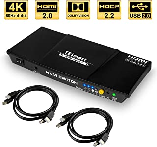 TESmart HDMI 4K@60Hz Ultra HD 2x1 HDMI KVM Switch 3840x2160@60Hz 4:4:4 with 2 Pcs 5ft KVM Cables Supports USB 2.0 Devices Control up to 2 Computers/Servers/DVR