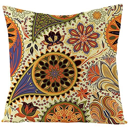 Agoble Cuscini Decorativi Letto Giallo Arancio Motivo Floreale, Biancheria Federa Cuscino Divano 45x45cm/18x18 Inches