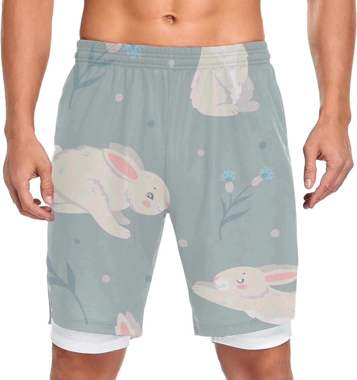 JIUCHUAN Denver Mall Running Shorts Bunny Flowers Workout Max 40% OFF Sport Men Training