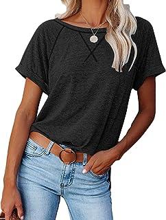Bienwwow - Maglietta casual da donna, a maniche corte, girocollo, con tasche