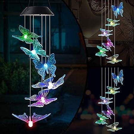 Tianhaik Solar LED Windspiel Stern Sonne Wasserdicht Farbwechsel Licht Wind Glocke Dekor f/ür Terrasse Garten Balkon