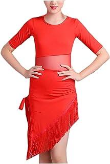 Qianliniuinc Girls Tassel Latin Dance Dress - Kids Practice Dance Clothing Children Salsa Tango Ballroom Dancing Dress Com...